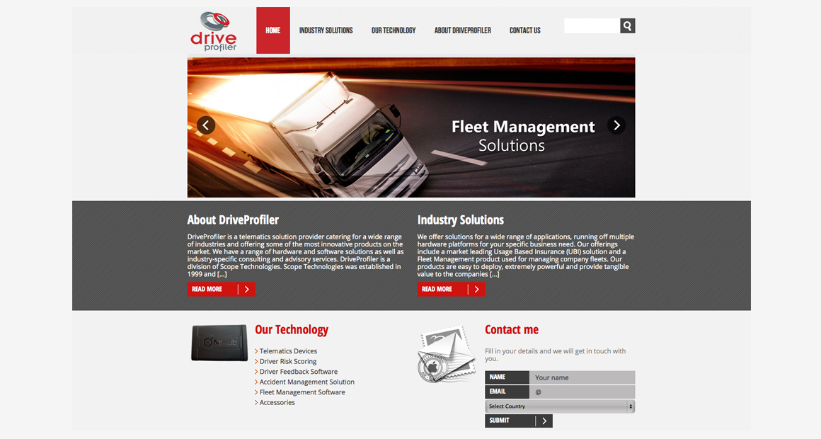 Drive Profiler website screen