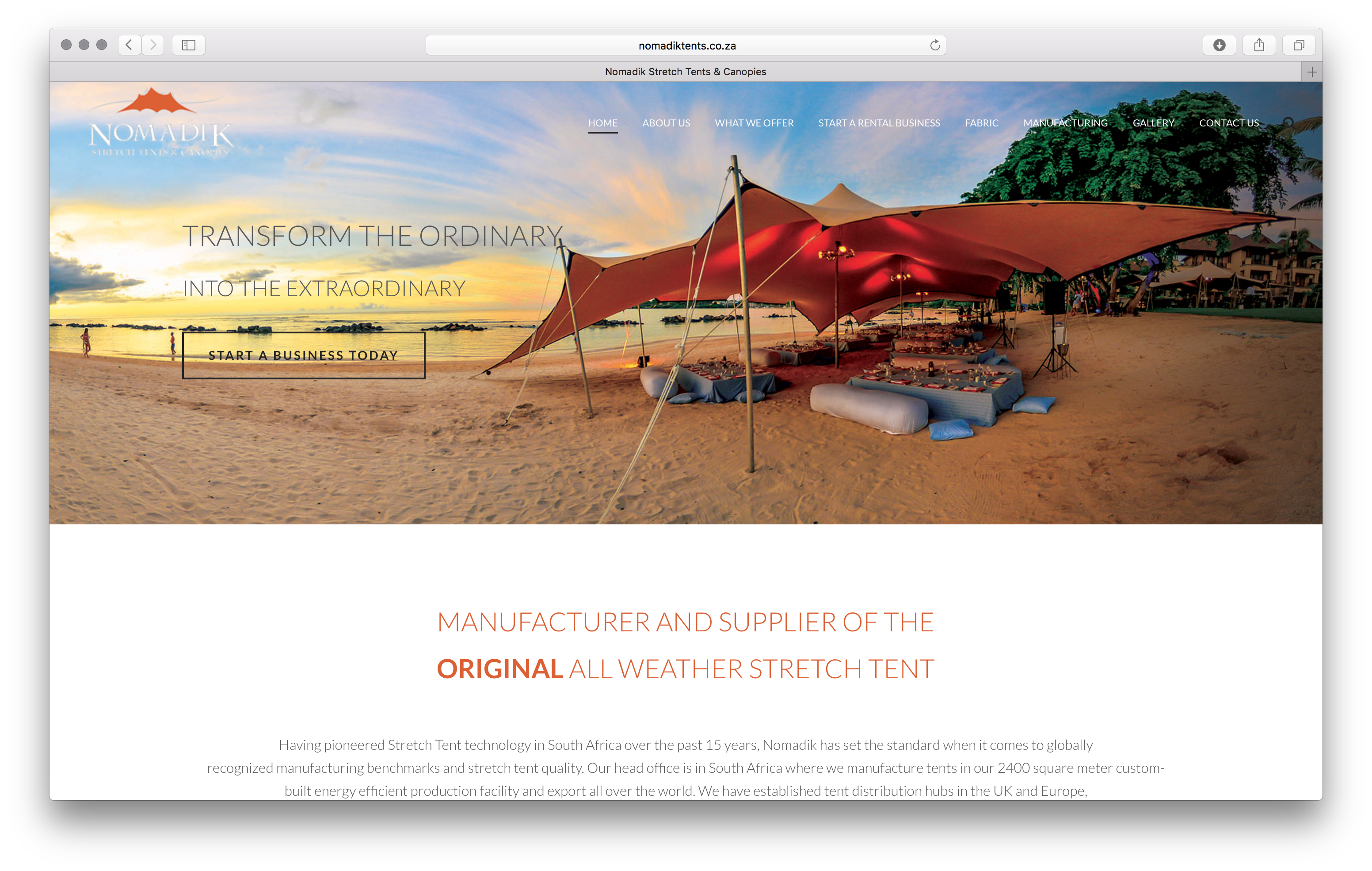 Nomadik Stretch Tent Website